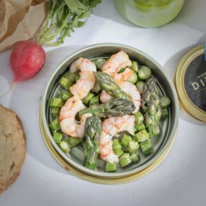 Asparagus and Side Stripe Shrimp Salad